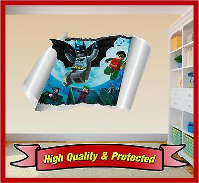 Lego Batman Wall Rip - 3D Art Printed Vinyl Sticker Decal Childrens Bedroom Boys • 10.99£