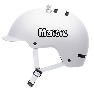 2 X Personalised Name Stickers For Bike Helmets Open Bubble Vinyl Decal BMX Kids • 2.49£