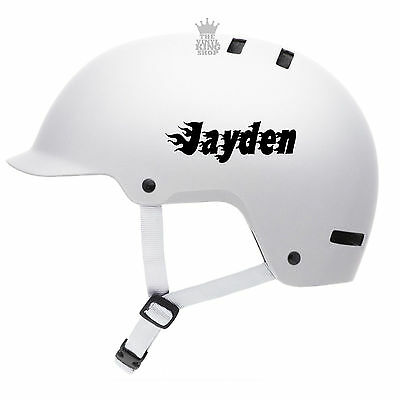 2 X Personalised Name Stickers For Bike Helmets Flames Fire Vinyl Decal BMX Kids • 2.49£