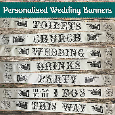 PERSONALISED WEDDING DIRECTION SIGNS Vintage / Shabby Chic Wedding Signs Banners • 2.95£