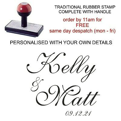 £9.99 • Buy Personalised Wedding Rubber Stamp Save The Date Names Favours Tags Bags Invites