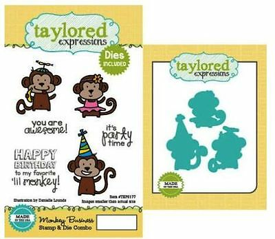Taylored Expressions Rubber Cling Stamp(6) & Die(3) Set MONKEY BUSINESS ~TEPS177 • 20.69$
