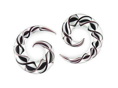 $17.25 • Buy Pair Black And White Ribbon Pyrex Glass Spirals Gauges