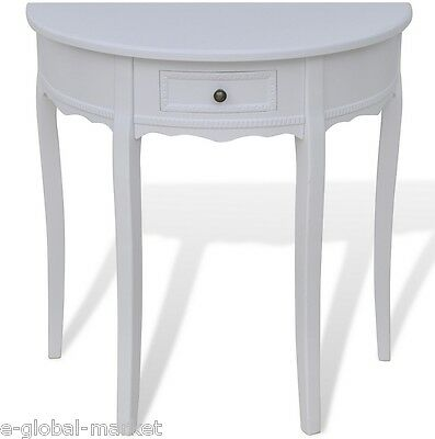 £99.99 • Buy Wooden Half Moon Round Hall Table Side Console Shabby Chic Hallway Drawer White
