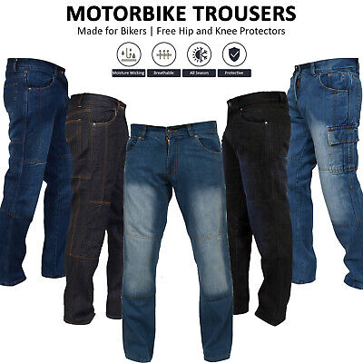 Men's Motorbike Jeans Motorcycle Denim Trousers Aramid Protective Lining Pants • 35.98£
