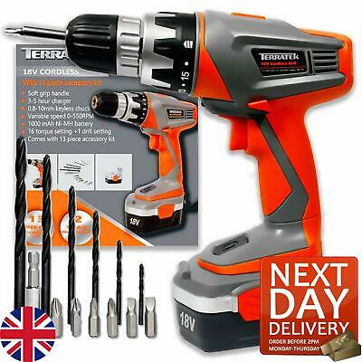 View Details 18v Cordless Drill Electric Screwdriver Combi Drill Driver 13pc Set • 32.99£