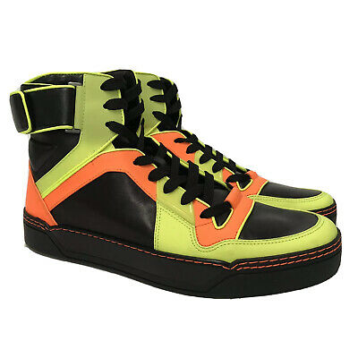 16eea9236b47 W-1392341 New Gucci Neon Hi-top Leather Sneakers Marked Size 10.5 US-
