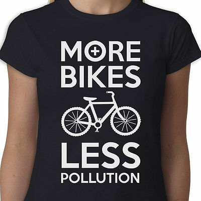 $ CDN20.44 • Buy More Bikes Less Pollution Ladies T-shirt EXERCISE POLLUTION BIKE CYCLING BICYCLE