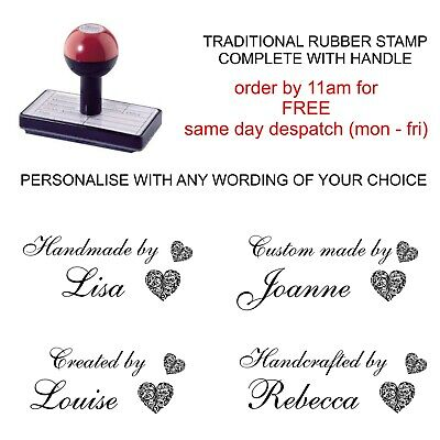 £8.49 • Buy Personalised Handmade By Rubber Stamp Heart Design With Your Name Crafting Cards