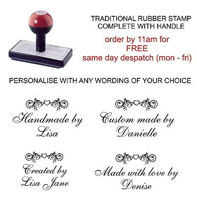 Personalised Handmade By Rubber Stamp With Your Name And Heart Scroll Design • 8.75£