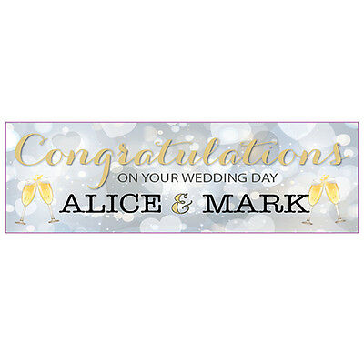 2 Personalised 800mm X 297mm Wedding Banners - Any Names • 3.99£