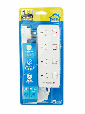 AU42.90 • Buy HPM 1.8m 4 Switched Outlets Powerboard With Safety Overload Protection D104PAWE