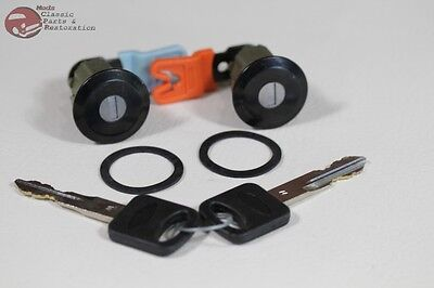$30.68 • Buy 96-04 Mustang Ford Door Lock Cylinder Key Set Black Cap With Pawl New
