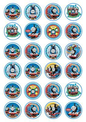 24 Thomas Train Birthday Boy Cupcake Fairy Cake Toppers Edible Rice Wafer Paper • 2.55£