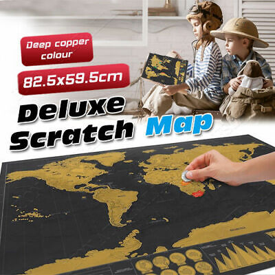 AU11.48 • Buy Deluxe Scratch Off World Map Interactive Large Poster Atlas Travel Decor Gift AU