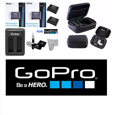 $ CDN32.85 • Buy Battery For GoPro HD Hero4 2 Pcs AHDBT 401+ DUAL RAPID CHARGER + HARD CASE