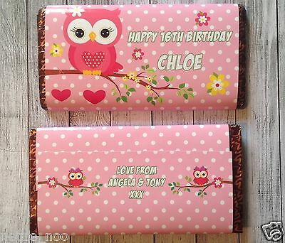 £1.25 • Buy PERSONALISED Owl CHOCOLATE BAR WRAPPER Fits Galaxy 110g Birthday Christmas Gift