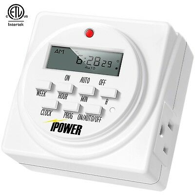 £8.68 • Buy IPower Heavy Duty Digital Electric Programmable Dual Outlet Timer Plug Indoor