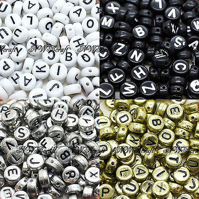 100 7x4mm Acrylic Single Letter Coin Beads A-Z Disc Alphabet Beads  • 1.69£