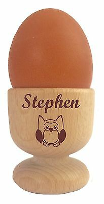 £6.95 • Buy Personalised Wooden Dippy Egg Cup Owl & Any Name Easter Birthday Christmas Gift