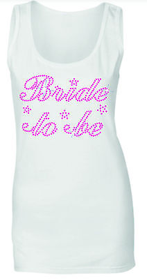 £9.99 • Buy BRIDE TO BE WEDDING HEN NIGHT PINK CRYSTAL RHINESTONE VESTS TANK TOPS All Sizes