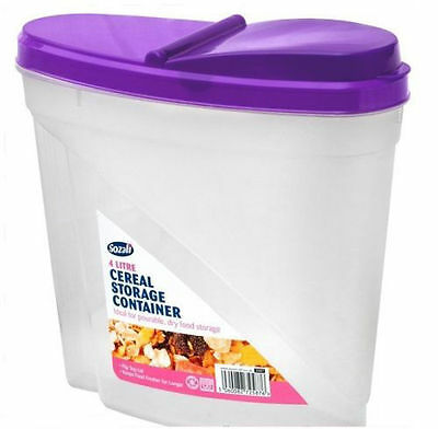 £9.99 • Buy 3 X 4L Dried Food Cereal Flour Pasta Food Storage Dispenser Container Seal