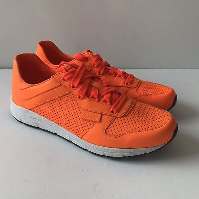 76c54eacc W-1479175 New Gucci Neon Orange Mens Leather Sneaker Top Marked Size 8.5 US  9.5
