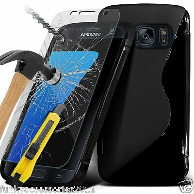 £3.95 • Buy S-Line Slim TPU Sports Wave Gel Phone Case✔Glass Screen Protector For Samsung