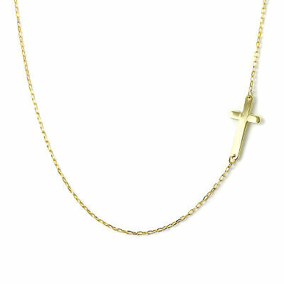 £63 • Buy Fine 9ct Yellow Gold Trace Chain Necklace With Cross Christian Faith 16 Inches