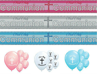 Communion Banners 1st Holy Communion Decorations Pink Blue Silver Boy/girl (pa) • 1.49£