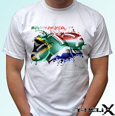 South Africa Rugby Flag - White T Shirt Top Tee Football Design Mens, Kids Sizes • 9.99£