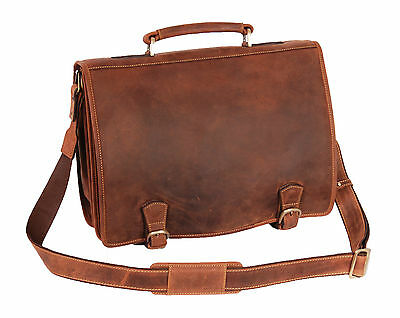 Real Leather Briefcase Vintage Distressed Tan Files Laptop Office Business Bag • 139£