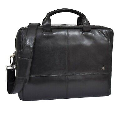 Large REAL Leather BRIEFCASE Man Women BLACK Laptop Bag Office Business Bag NEW  • 169£