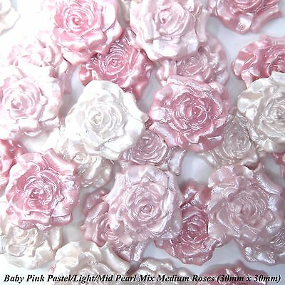 £6.70 • Buy 12 Baby Pink Pearl Mix Sugar Roses Edible Flowers Wedding Cake Decorations 30mm
