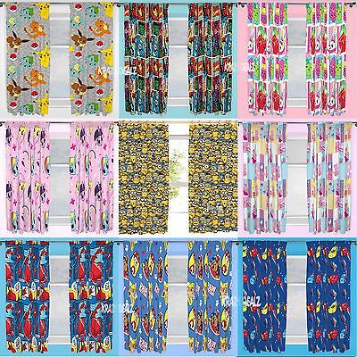 Official Licensed Character Pleated Curtains 54  Or 72  Drop Kids Boys Girls  • 16.95£