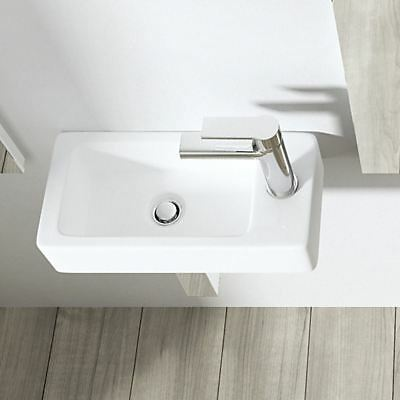 £39.99 • Buy Mini Small Rectangle Cloakroom Basin Sink Wall Hung Counter Top 365*180*90mm RH