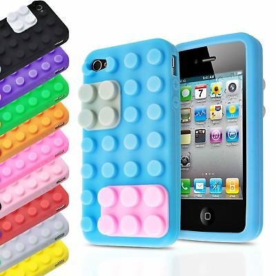 3d Blocks Brick Building Lego Soft Silicone Stand Cover Case For Apple Iphone 4s • 1.85£