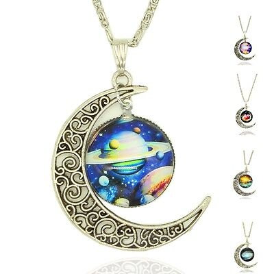 £3.20 • Buy Necklace Glass Galaxy Lovely Planet Pendant Silver Chain Crescent Moon Necklace