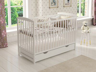 £149.99 • Buy Baby Cot Bed 120x60cm With Drawer & Mattress & Waterproof Fitted Terry Cot Sheet