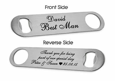 Personalised Bottle Opener Best Man, Usher, Groomsman, Father Of The Bride Gift • 4.95£