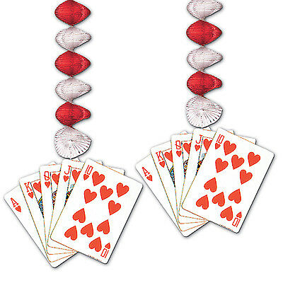$6.99 • Buy 2 Pc Set CASINO Alice In Wonderland Party Hanging Decoration CARD SUIT DANGLERS