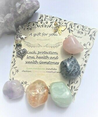 Love Protection Luck Health & Wealth Healing Crystals Gemstones Chakra Gift Set  • 6.99£