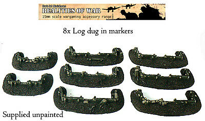 15mm Wargames Terrain 8x Unique Log Dug-in Markers • 9£