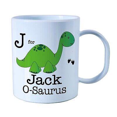 Personalised Green Dino Plastic Mug Children's Birthday Gift Juice Cup Any Name • 10.99£