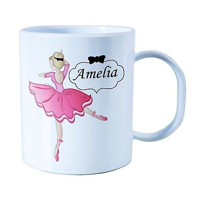 Personalised Ballerina Plastic Mug Children's Birthday Gift Juice Cup Any Name • 10.99£
