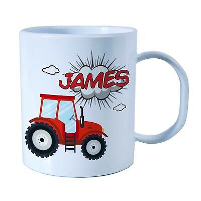 Personalised Tractor Plastic Mug Children's Birthday Gift Juice Cup Any Name • 10.99£