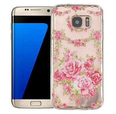 $ CDN8.87 • Buy For Samsung Galaxy S7 Edge - Soft TPU Rubber Case Cover Pink Clear Rose Flowers