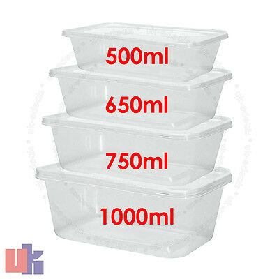 £8.63 • Buy Clear Plastic Quality Containers Tubs With Lids Microwave Food Safe Takeaway