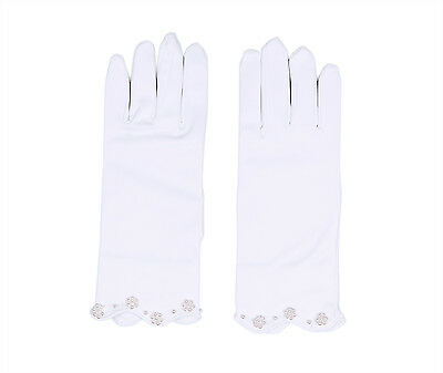 £6.99 • Buy Satin Girl's Short Fingered Communion/Pageant Glove,Wrist Length With Pearls