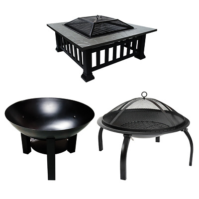 Garden Fire Pit Outdoor Wood Log Burner Bbq Patio Heater Metal Camping Brazier • 69.99£